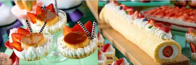 左)正統派プリンアラモード 右)長~いあまおういちごールケーキ