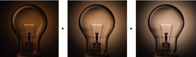 フィラメントが発光しはじめ、光量が上がっていく様子