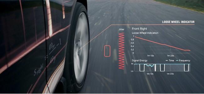 右前輪のホイールナットが緩んでいることを、特有の振動成分から検出している