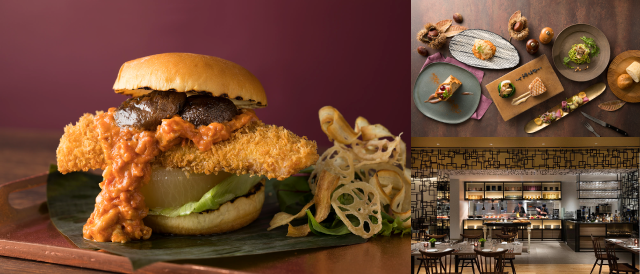 写真左Muamb Fish Burgera 右上Autumn Dinner Course 右下Dining & Bar LAVAROCK店内