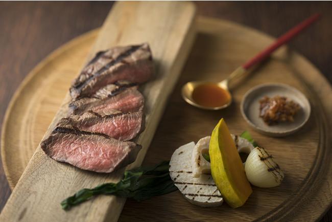 塩?跫マリネの牛赤身肉グリル 冬野菜添え ワインソース金山寺味噌風味