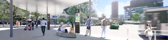 熊本駅白川口駅前広場 スマートバス停設置イメージ図 ※1
