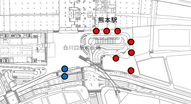 設置場所(熊本駅白川口駅前広場 9カ所)