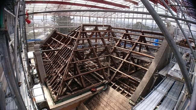 田尻歴史館の耐震補強等保全修理工事中の様子