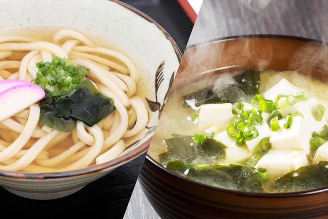 マッシュルームのお出汁パックを利用した調理例(うどん/味噌汁)※画像はイメージです