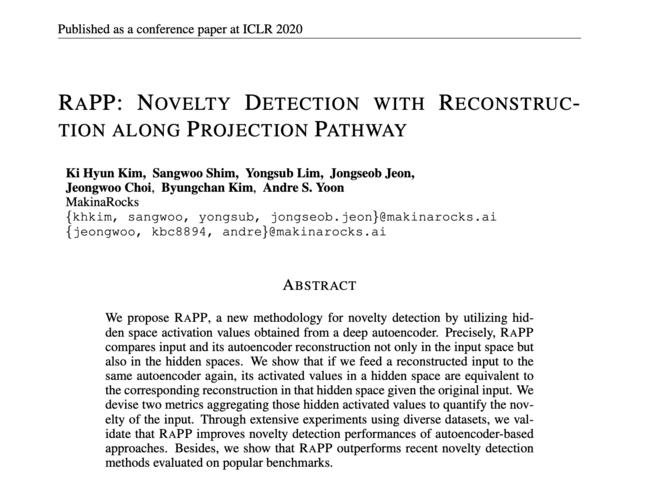 ICLR2020に採用されたマキナロックスのRaPP基盤の異常検知技法に関する論文