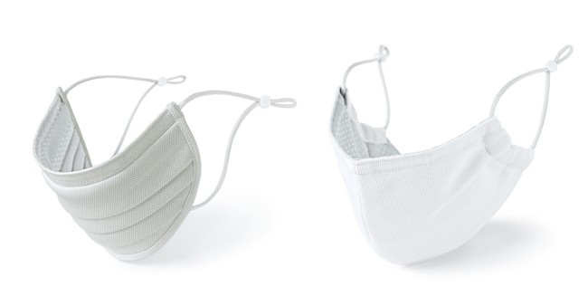 (左)はスタンダードタイプ、(右)はビークタイプ。各型、白・グレーの2色と各サイズを準備。