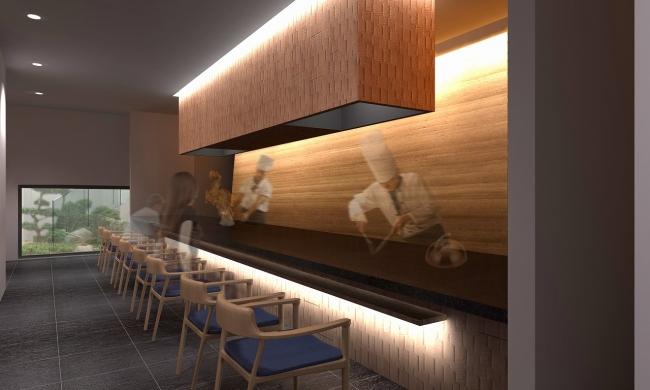 京都牛などを京都の小規模生産蔵の日本酒などと楽しむことができる鉄板焼き(地下1階)※一般営業は18日より