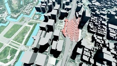 航空写真を貼付けた3D地図データ