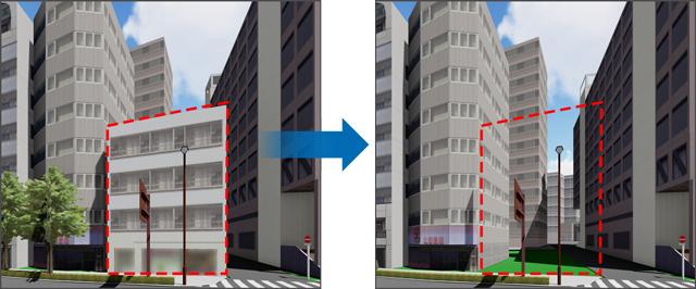 3Dモデルの削除前、削除後のイメージ