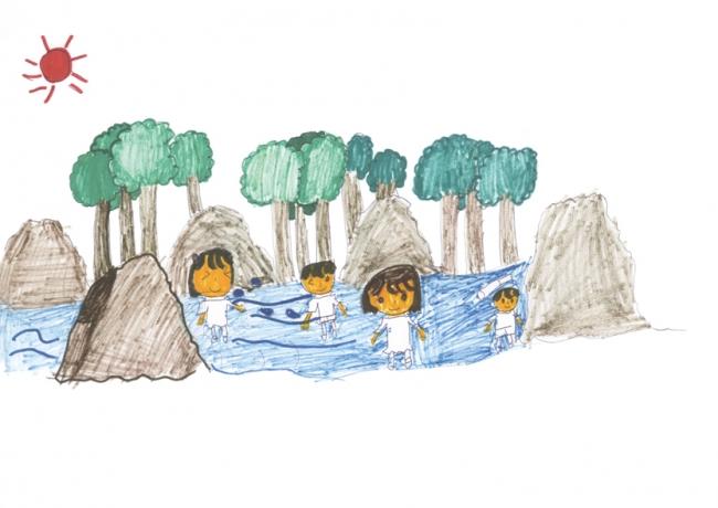 「楽しかった川遊び」、愛知県 10歳