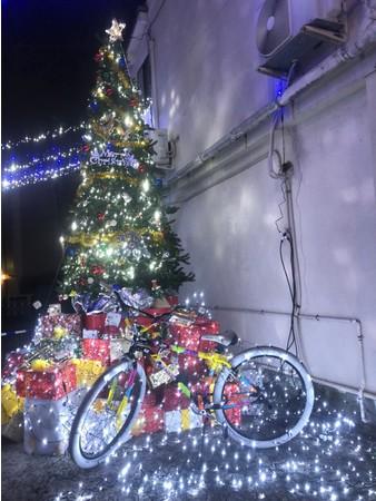 地域の人たちの手によって豪華になったクリスマスツリー