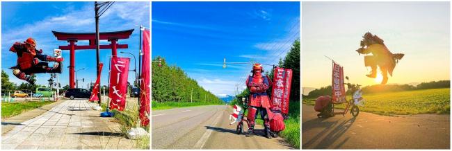 左より 新潟県弥彦村、北海道幌延町、北海道名寄市にて撮影。すべてSamurai Japan Projectインスタグラムより