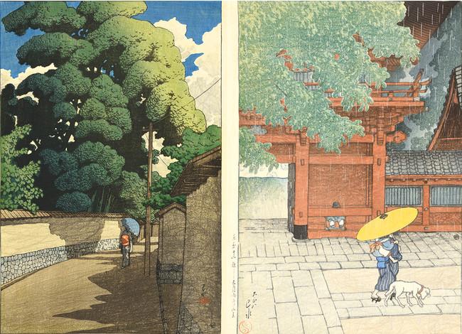 「旅みやげ第二集 金沢下本多町」 「東京十二題 五月雨ふる山王」