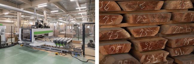(写真左から)多軸CNC加工機械、工場で使用される良質な木材