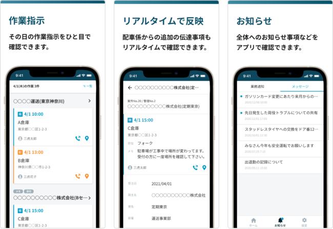 【ドライバー向けiOSアプリの主な機能および画面イメージ】
