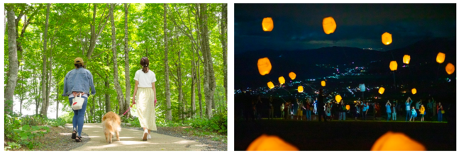 (左)ゴンドラリフトはペットも乗車可能。大自然を家族で満喫できる、(右)山頂でのランタンイベント(写真は2019年開催の様子)