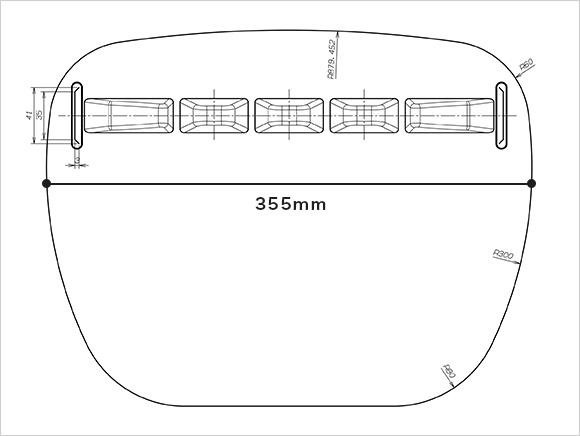 AK-001 CROSS RED のシールド面の図面。幅355mm。