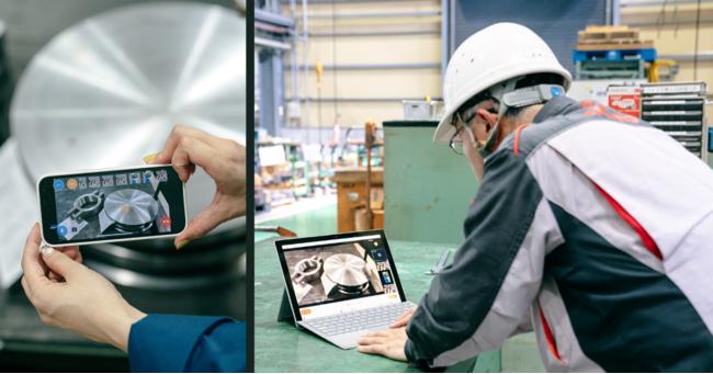 遠隔にいるベテラン技術者が現場の新人作業者に指示している場面。ポインタ機能を使うことで口頭では伝わりづらい作業手順を遠隔から指導でき、限られたベテラン技術者の労働力をレバレッジすることができます。