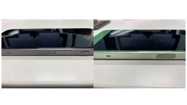 左が健全なスマートフォン、右がバッテリーが膨らんだスマートフォン、床から少し浮いている状態