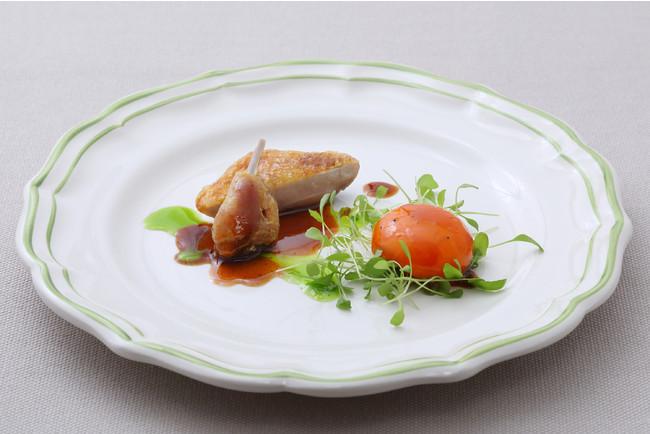 フランス産ウズラのローストとコンフィ 寿雀卵ソース