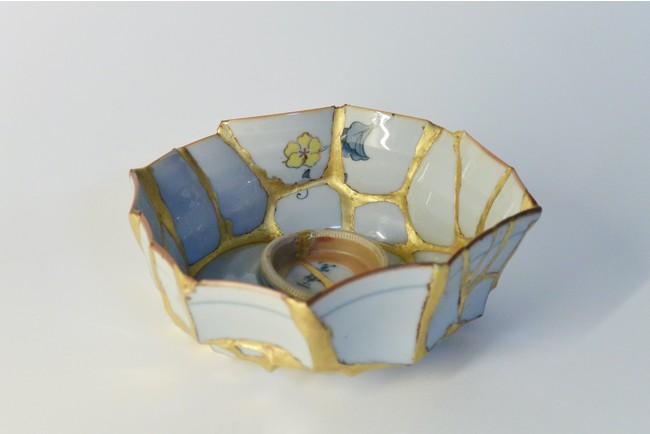 伊佐治雄悟 「bowl」 2015 陶製茶碗、金継ぎ 130x120x50