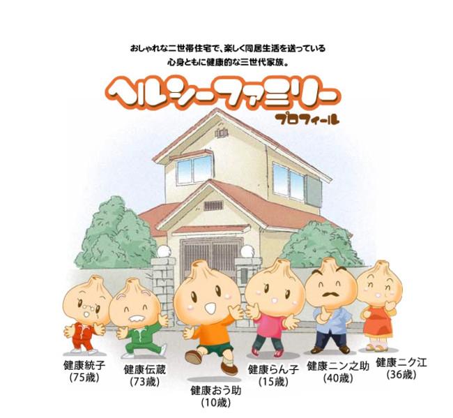 ▲健康家族公式キャラクター「ヘルシーファミリー」