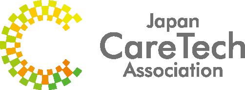 協会ロゴ 多様な点(介護に関わる人や事業者)がテクノロジーでつながり1つのケア(C)を作るイメージを表現