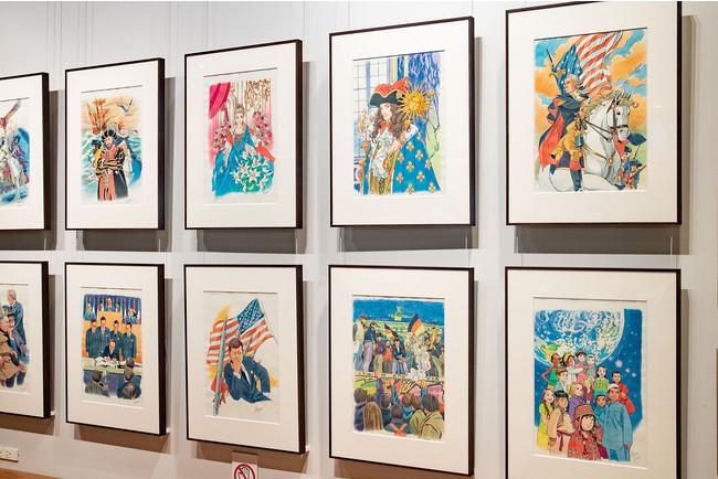 「ダ・ヴィンチストア」の「アートウォール」に展示された『世界の歴史』カバーイラストの原画