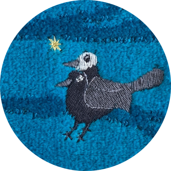 「ヨゲンノトリ」刺繍アップ