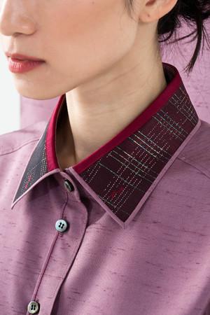 牛首紬ー螺鈿織クラシックシャツ