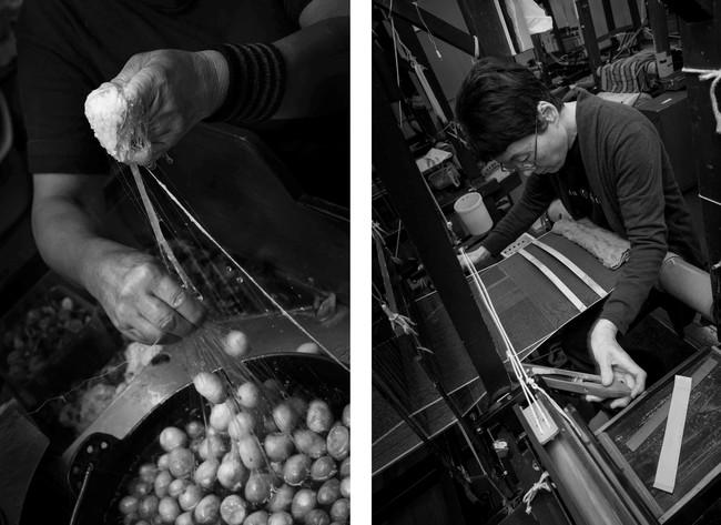 糸取りの伝統技法「のべびき」と工房での手織りの様子