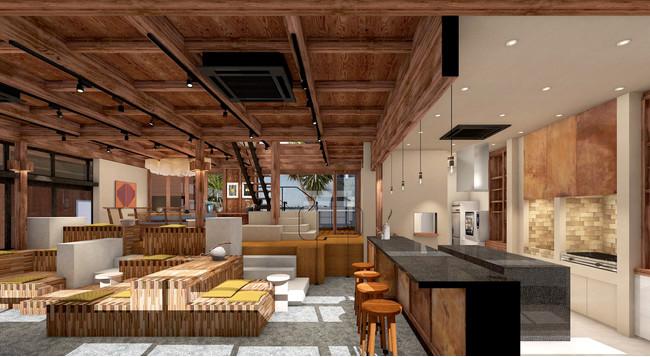 Living Room(ラウンジスペース)の完成予想図。右手のカウンターは「Minatoya」