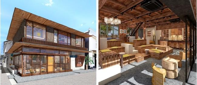 SOIL LIVING(左)の外観イメージとSOIL KURA(右)の内観イメージ