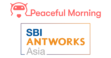 Peaceful MorningおよびSBI AntWorks Asiaのロゴ