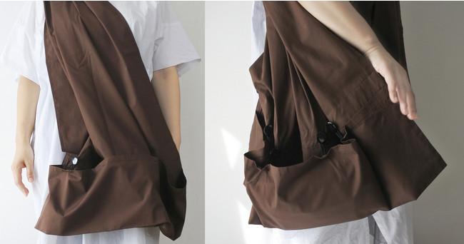 ショルダーバッグのため両手が使え中身もすぐに取り出せます