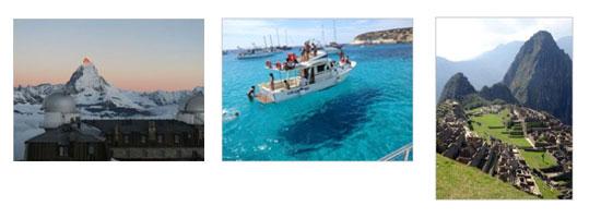 (左)クルムホテル (中央)ランペドゥーサ島 (右)マチュピチュ