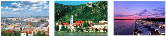 (左から)ブダペスト、  バッハウ渓谷(オーストリア)(c)ANTO、  夕景(船上)