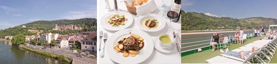 【左から】ハイデルベルク、夕食(イメージ)、MSラファイエット号 船上(イメージ)