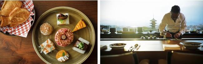 (写真左)「NINENZAKA TEA TIME」より3種のサンドウィッチ、季節のドーナツ2種、マンゴータルト、柚子メレンゲパイ、ミニシューアイス、たいやき、ワンドリンク付き(写真右)八坂「ランチコースメニュー」は2コースをご用意