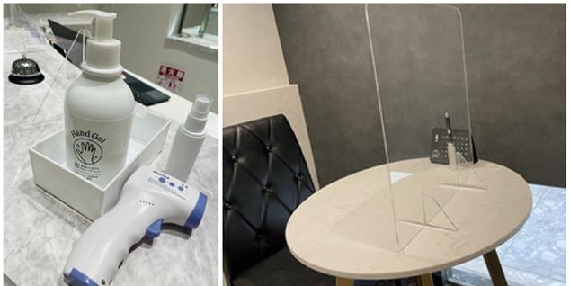 左:店内ではマスクはもちろん、手指の アルコール消毒、検温の実施を徹底/右:カウンセリング時には、飛沫感染予防のパーテーションを 設置して感染症対策を行っております。