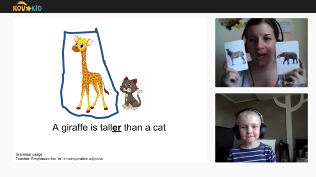 Novakidの学習プラットフォームを使用したレッスン画面
