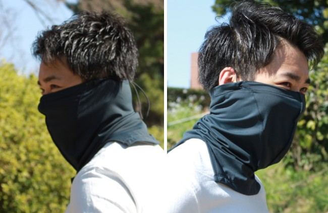 2WAYで装着可能 耳隠し(左) / 耳出し(右)