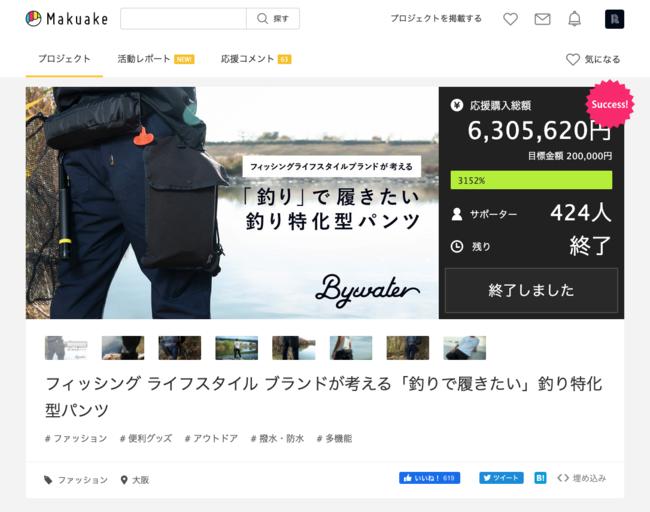 Makuake:「6,305,620円」「424人」(2020年12月21日から2021年2月22日)