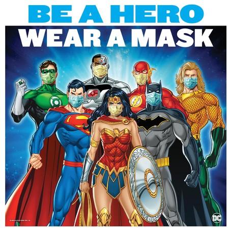 ▲DC展会場内に掲示のサイン:ヒーローたちもマスクを着用