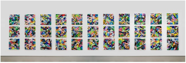 Cluster2020, 2020, Dimension Variable, Acrylic and mixed media on canvas, 33 panels of 60.0×60.0 cm