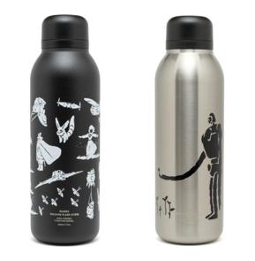 ステンレスボトル (左:風の谷のナウシカ、右:天空の城ラピュタ)  各3,520円 作中の象徴的なシーンを抜き出しシルエットで表現した 味のあるデザインのボトル。