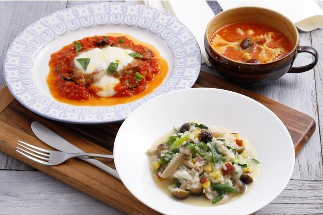 パスタと豆のスープ/さつまいものリゾット/豚肉のピッツァイオーラ
