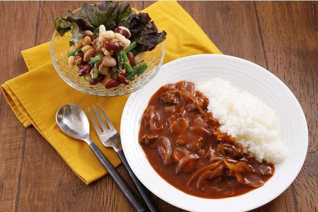 ハッシュドビーフ/豆サラダ