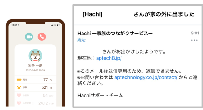 専用アプリ(2021年3月現在、iOSのみ対応)画面では常に最新情報を閲覧可能。「おでかけ通知」をONにすれば、特定地点からの出入りをメールでお知らせすることが可能です。